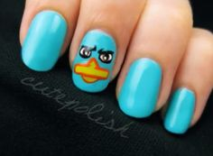 Perry the Platypus - Nail Design Tutorial. There are also other great tutorials on this channel.
