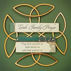 """Metal Celtic knotwork displays resin tiles with the look of weathered wood. Ready to hang. Irish Family PrayerMay love connect us,faith direct us,and God protect us. Features - 10.75"""" wide x 10.75"""" ta"""