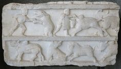 "Relief depicting ""venationes"", fights with beasts (from the Temple to Serapis, Pergamum) Roman Gladiators, Julius Caesar, Temple, Beast, Turkey, Museum, Culture, Landscape, Temples"