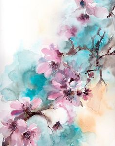Floral Fine Art Print Pink Turquoise Blooming Branch Watercolor Print Loose Style Botanical Painting Art Flowers Blossoms Wall Print Pink Blossoms Watercolor Print Watercolor By Canotstopprints Watercolor Print, Watercolor Flowers, Watercolor Paintings, Painting Art, Watercolor Wallpaper, Watercolor Background, Wall Art Prints, Fine Art Prints, Floral Wall Art