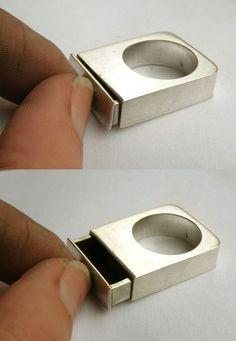 OOAK Drawer Ring-sterling silver. via Etsy.: