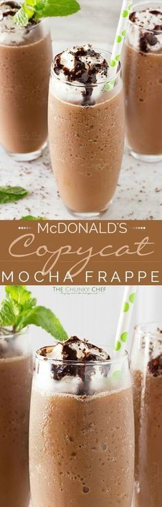 Copycat Mocha Frappe Just 4 ingredients! Forget spending your money on a frozen coffee drink, make your own mocha frappe at home! Weight Watcher Desserts, Smoothie Drinks, Smoothie Recipes, Mocha Smoothie, Frozen Coffee Drinks, Café Chocolate, Chocolate Milkshake, Frozen Chocolate, Low Carb Dessert