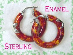 Italian ~ Panther Brown Gold Enamel Hugs & Kisses Sterling Silver Hoop Earrings  @@ FREE SHIPPING @@