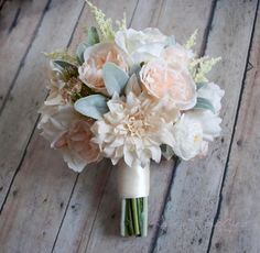 Blush pink and ivory garden rose, dahlia and peony bridal bouquet for spring wedding