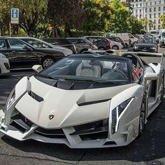 """Lamborghini Veneno Roadster"""" Pictures of New 2017 Cars for Almost Every 2017 Car Make and Model, Newcarreleasedate… is… - Cars and motor Luxury Sports Cars, Exotic Sports Cars, Best Luxury Cars, Exotic Cars, Cool Sports Cars, Lamborghini Veneno, Carros Lamborghini, Lamborghini Roadster, White Lamborghini"""