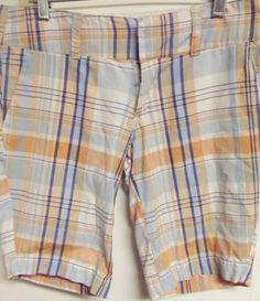 #Hurley #Orange Blue #Plaid Board Shorts Flat Front #Juniors Size 3.