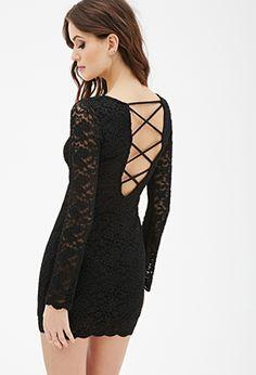 Lattice-Back Lace Sheath Dress | FOREVER21 - 2000121070