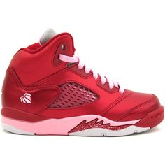 b61208a31badcb Air Jordan 5 Retro PS (Pre-School) Valentines Day Gym Red Ion Pink... ( 79)  ❤ liked on Polyvore featuring shoes