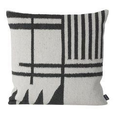 Ferm Living Black Lines Cushion: Give a lift to your home with this stylish monochrome Kelim cushion that will work well mixing it with other cushions or alone. By Ferm Living.