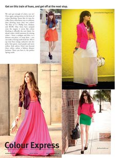Pink flowy maxi skirt + colour blocking.
