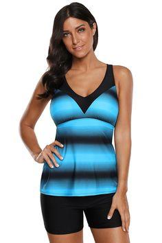 396872f31fe58 Women Blue Black Stripe Print Double Strap 2 PC Tankini and Swim Shorts  Swimsuit Set