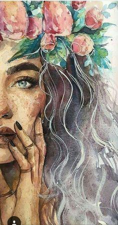 Sketch Art, Art Drawings Sketches, Pencil Drawings, Outline Drawings, Sketch Ideas, Realistic Drawings, Watercolor Portraits, Watercolor Paintings, Beginner Painting