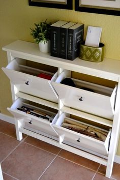 Small space organization hemnes shoe cabinet // From ikea; could use as control center for mail. Dual-functioning piece!