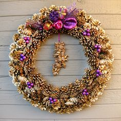 This pine cone wreath is strikingly beautiful.