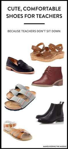 Finding comfortable shoes for teachers can be a huge dilemma!  5 teacher approved shoes that are not only comfortable, but stylish! | maneuveringthemid... via @maneveringthem