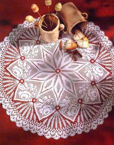 MATERIALES: 200 gramos de hilo de algodon en color blanco; aguja de crochet nº 0,75 (ó bien nº 1,00 si suele trb. apretado).