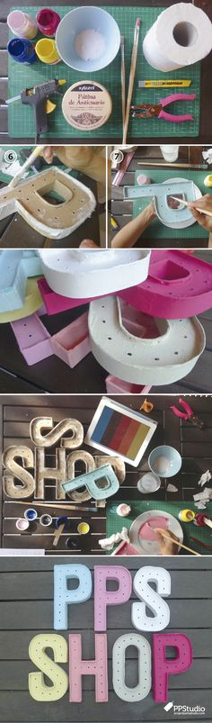 Project party studio » UN D.I.Y. CON TODAS LAS LETRAS Handmade Christmas Gifts, Handmade Gifts, Fun Crafts, Diy And Crafts, Diy Letters, Cardboard Letters, Ideas Para Fiestas, Diy Clay, Homemade Crafts