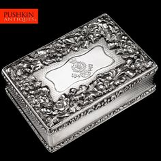 ANTIQUE 19thC VICTORIAN SOLID SILVER HUGE REGIMENTAL TABLE SNUFF BOX c.1839