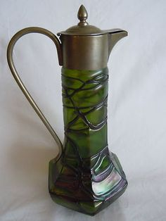 Antique Beautiful Loetz Art Deco Threaded Green Pitcher Jug Glass Vase   eBay