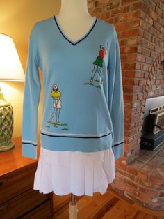 Andreno Argenti 1960s Tennis Golf Sweater. V Neck with Stripes. Embroidered  Golfers. Size Medium by silkwoolcotton on Etsy