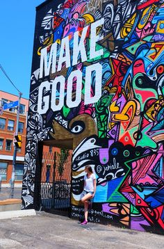Ups and Downs part of life,Make good- Do good,Street Paint, Toronto, City of Canada.Exploring Graffiti Alley in Toronto