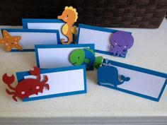 12 Under the Sea Animal Place Cards Food Cards Labels. $15.00, via Etsy.