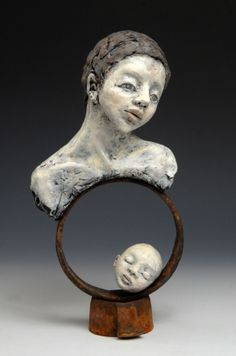 "Elissa Farrow-Savos ""Circle of Life,"" polymer clay, oils, found object"