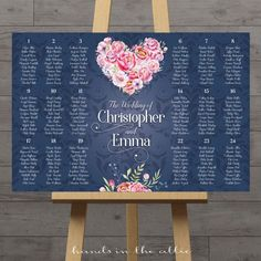 Floral navy seating board wedding seating chart guest table assignment plan printable poster peony pink flowers extra large display DIGITAL by HandsInTheAttic Reception Seating Chart, Table Seating Chart, Seating Chart Wedding, Wedding Guest Table, Wedding Reception Seating, Wedding Ceremony, Table Arrangements, Table Centerpieces, Wedding Table Assignments