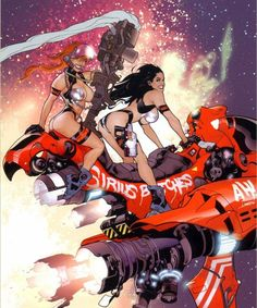 Dirty Pair by Adam Hughes, but this illustration is clearly a Frank Cho:) Comic Book Artists, Comic Artist, Comic Books Art, Arte Sci Fi, Sci Fi Art, Illustrations, Illustration Art, Adam Hughes, Bd Comics