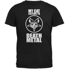 My Cat Listens To Metal Black Adult T-Shirt - Walmart.com