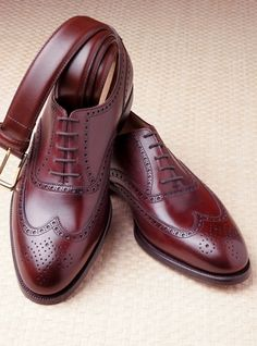 Crockett and Jones, The Downing Wingtip In Burgundy $690