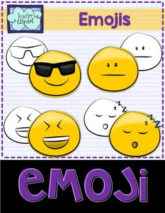 Emoji Smiley Faces Emoticons Clipart Bundle includes 24 colored and 24 line art images to represent some of the Whatsapp messenger emojis. Includes: - Sleepy - Smiling - Straight mouth - Sunglasses