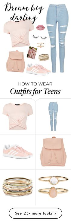 """""""Untitled #43"""" by anna-nedelcheva on Polyvore featuring New Look, Topshop, adidas Originals, Accessorize, Kendra Scott and Lime Crime"""