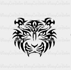 Full Face Tiger Silhouette SVG, DXF, EPS, PNG Digital File – Wickedly Cute Designs
