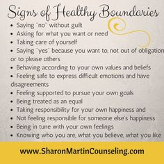 Signs of Healthy Boundaries #boundaries Article at www. SharonMartinCounseling.com