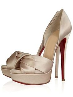 5 1/2'' Gray Peep Toe Satin Cloth Women's Red Sole Shoes