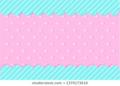 Set of vector background with hearts and dots for invitation card. Pink, turquoise backdrop for gender reveal, baby shower, little princess birthday lol party. Doodle Frames, Birthday Backdrop, Birthday Decorations, Cute Pink Background, Vector Background, Baby Party, Baby Shower Parties, 3d Letters, Doll Style