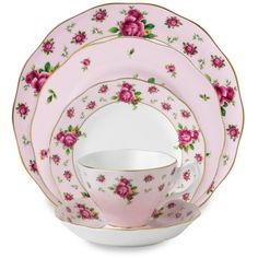 Royal Albert New Country Roses Pink Formal Vintage Dinnerware (105 CAD) ❤ liked on Polyvore featuring home, kitchen & dining, royal albert and bone china