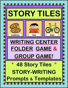 "Use STORY TILES in your WRITING CENTER!  Make a FOLDER GAME for your Writing Center.  You can also play a funny, rhythmic GROUP GAME and compose a Collaborative Story to send home.  Story Templates (for individuals and groups), Illustration Templates, a ""Talking Points"" Poster on story elements, and the 48 humorous Story Tiles are all included.  Try a hands-on approach to Writing!  (16 pages)  From Joyful Noises Express TpT!  $"