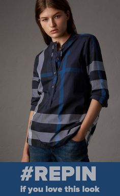 e32904a5cd62e  Repin if you love this Burberry look --- check cotton shirt with a