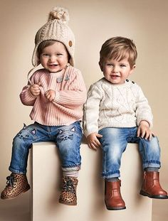 Baby Boy Tops & T-shirts - Kids clothing Boy Girl Twin Outfits, Baby Outfits, Boy Girl Twins, Outfits Niños, Toddler Outfits, Kids Outfits, Twin Outfits For Babies, Fashion Outfits, Girls