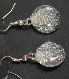 Silver holographic glitter earrings dangle by GlitterfiedNails