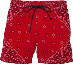 All Red Nike Shoes, Red Bandana Shoes, Bandana Crafts, Red Swim Trunks, Mode Swag, Cowboy Baby Shower, Chola Style, Trunks Swimwear, Bandana Styles