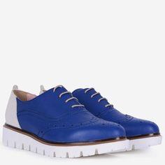 Pantofi Oxford din piele naturala albastri cu alb Tommy Stella Mccartney Elyse, Wedges, Sneakers, Casual, Shoes, Fashion, Tennis, Moda, Slippers