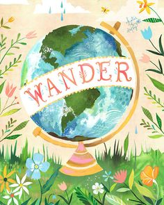 Wander - various sizes - STRETCHED CANVAS - Katie Daisy art