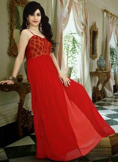 Romantic Red Georgette Indowestern Gown