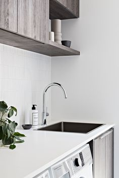 Design Duo Zephyr & Stone unveil their latest project. Laundry Nook, Laundry Tubs, Laundry In Bathroom, White Paint Colors, White Paints, Franke Sink, Kitchen Benchtops, Drop In Sink, Laundry Room Inspiration