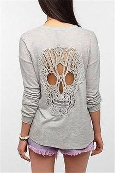 Wanted Post: SPARKLE & FADE SKULL LACE-BACK SWEATSHIRT | FyndIt