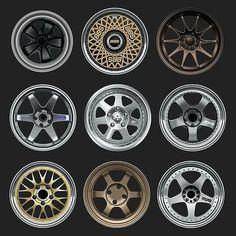 Jdm Wheels, Classic Japanese Cars, Nissan 240sx, Rims For Cars, Racing Wheel, Honda Fit, Paper Models, Custom Cars, Diorama