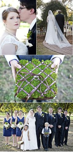 Love the grass covered ring bearer's box